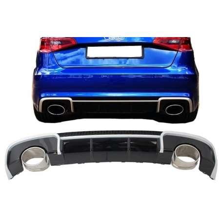 Diffuseur arriere + embouts d'echappements Audi A3 sportback 8V 12-15 Look RS3