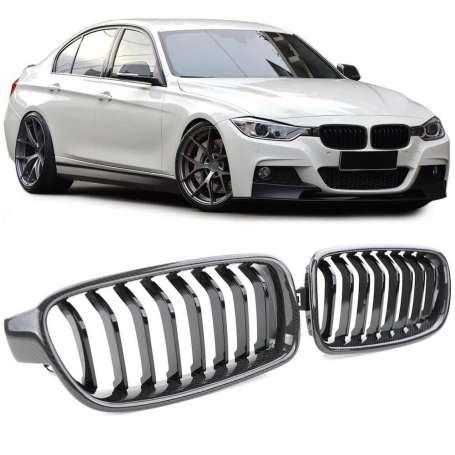 Grilles de calandre noir carbone BMW Série 3 F30 F31 (11-16)