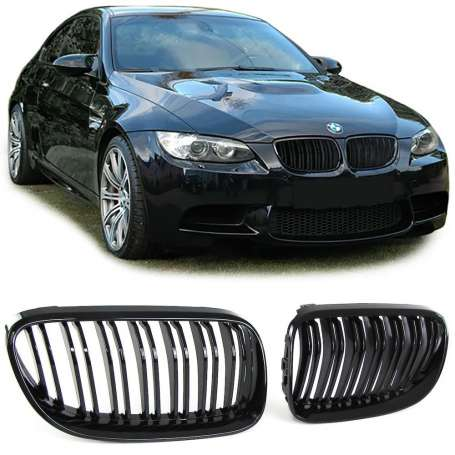 2x Grilles de Calandre BMW E92 E93 LCI 10-13 Noir Brillant M Performance