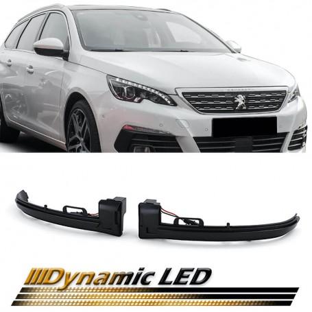 Clignotants de rétroviseurs noir fumé à LED Dynamiques Peugeot 308 13+