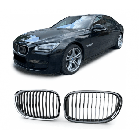 2x Grilles de calandre BMW serie 7 Chrome Noir Mat 08-13