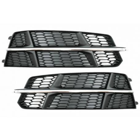 2x Grilles anti brouillard noir et chrome Audi A6 C7 S-Line 15-18