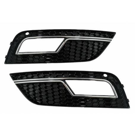 2x Grilles anti brouillard Audi A4 B8 Look RS4 Noir Chrome 12-15