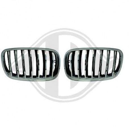 2x Grilles de Calandre BMW X6 E71 Noir / Chrome 06-13