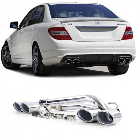 2x Sorties d'echappement double Chrome Mercedes Classe C W204 07-14