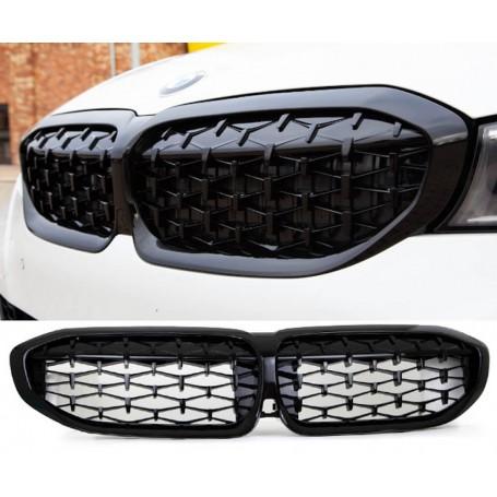 Calandre diamant M BMW Série 3 G20 G21 Noire laquée (19+)