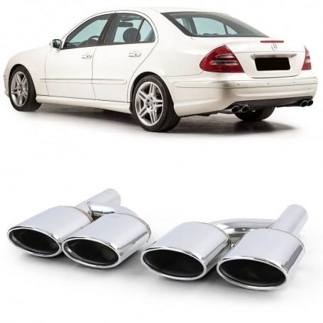 2x Sorties d'echappement double Chrome Mercedes C, CL, CLK, E, M, S et SL (01-16)