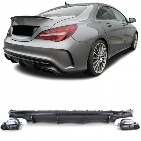 Diffuseur carbone + Echappements Night Package Mercedes CLA W117 C117 Look CLA 45 AMG (16-19)
